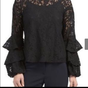 Solitaire Anthropologie Boho Lace Bell Sleeve Top